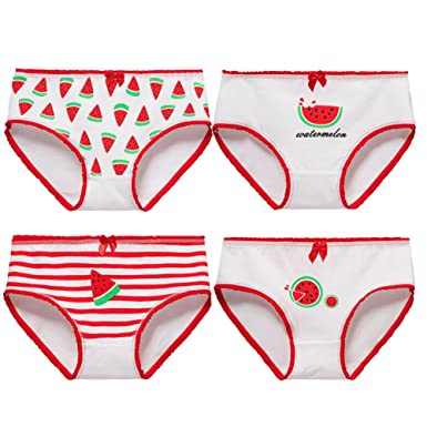 236f9b41335a Amazon.com: Goodkids Little Big Girls' Breathable Cotton Lace&Bowknot Briefs  Underwear Watermelon Hipster Panties: Clothing