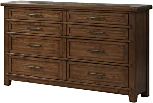 Benjara 8 Drawer Wooden Dresser with Natural Grains and Molded Details, Brown