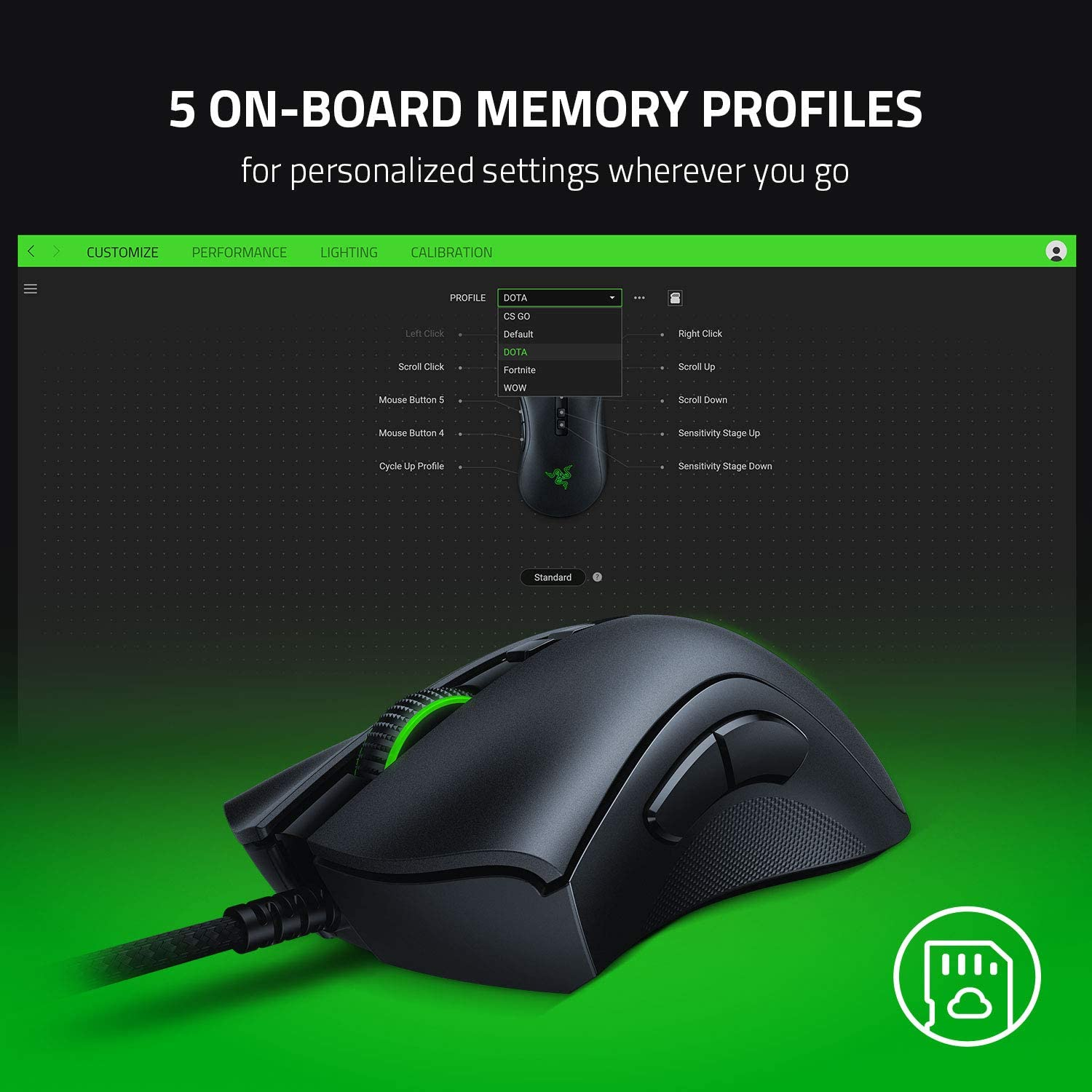 Razer DeathAdder v2 Gaming Mouse: 20K DPI Optical Sensor - Fastest Gaming Mouse Switch - Chroma RGB Lighting - 8 Programmable Buttons - Rubberized Side Grips - Classic Black: Computers & Accessories