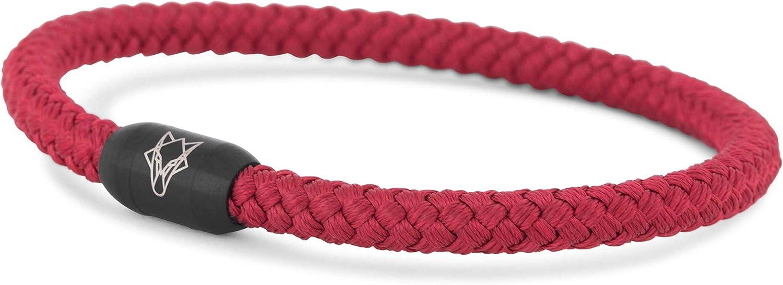 Akitsune Silva Bracelet Nylon 5 mm Fermeture Magn/étique Bracelets Femmes Hommes Bracelet en Acier Inoxydable Simple Noir