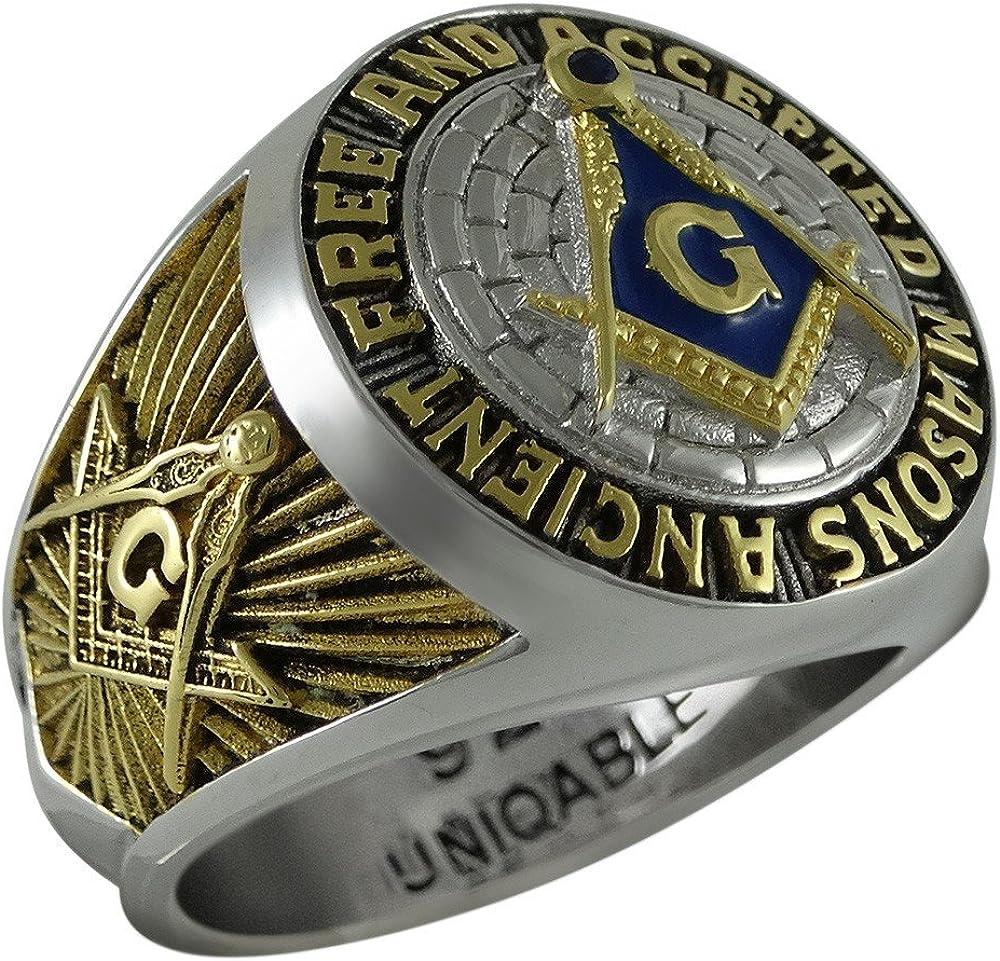 Ancient Free and Accepted Masons Masonic Sterling Silver 925 Mason 18k Gold Plated Freemason Ring KTR010