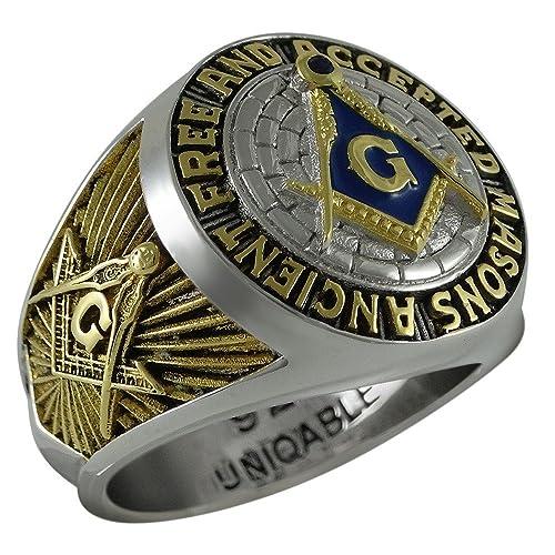 c6f751d1fa37e UNIQABLE Ancient Free and Accepted Masons Masonic Sterling Silver 925 Mason  18k Gold Plated Freemason Ring KTR010