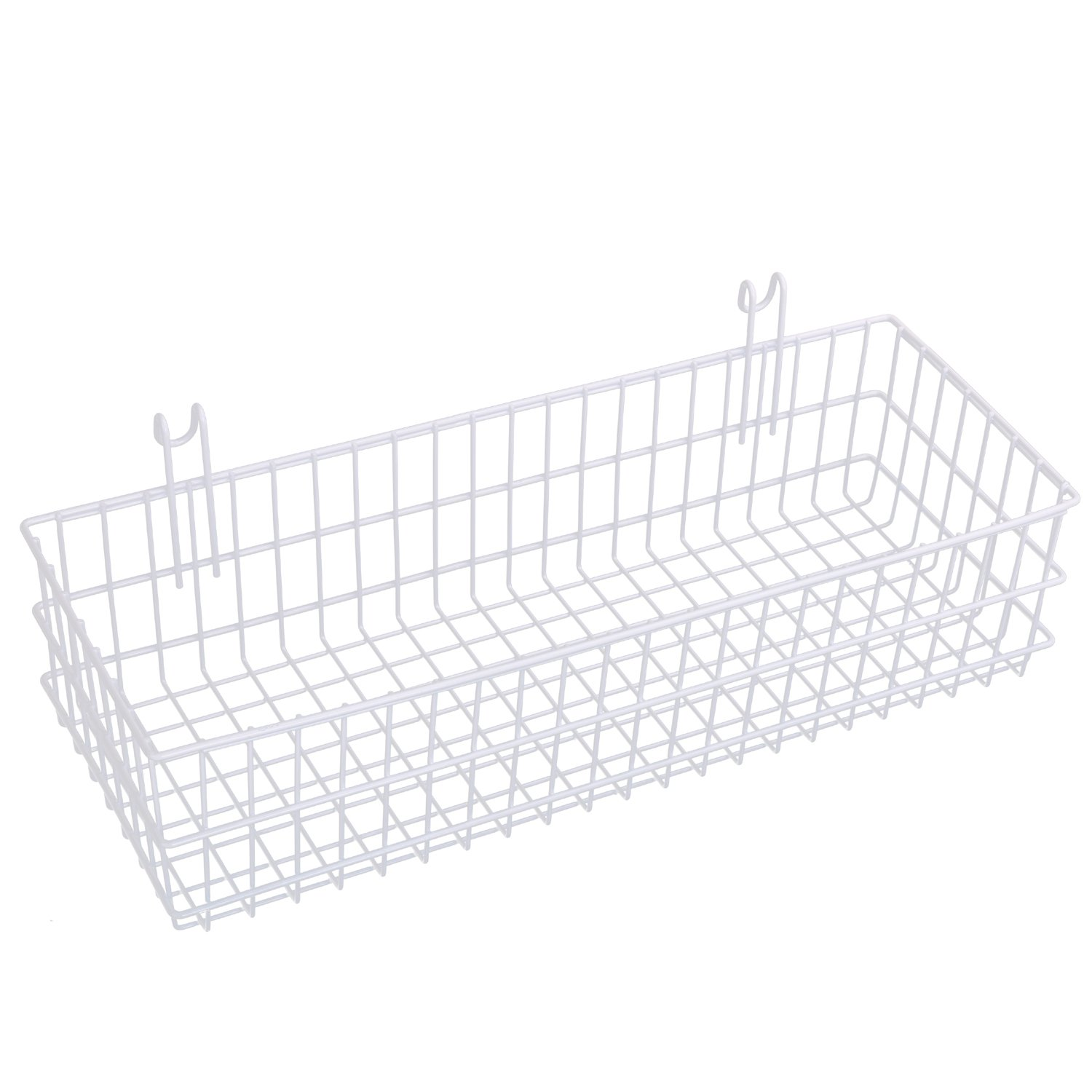 Kufox Multipurpose Mesh Wall Metal Wire Basket, Grid Panel Hanging Tray, Wall Mount Organizer, Wire Storage Shelf Rack For Home Supplies, Wall Decor, Medium Size, White Coated