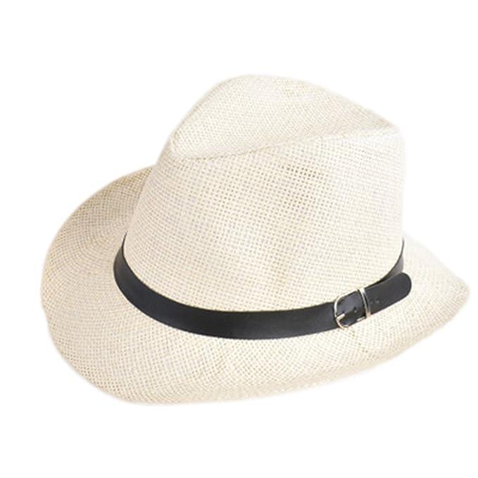 8e6c41d94f1 ylovego Unisex Men Women Straw Hat Cap Summer Beach Travel Sunhat with  Black HT0717BG