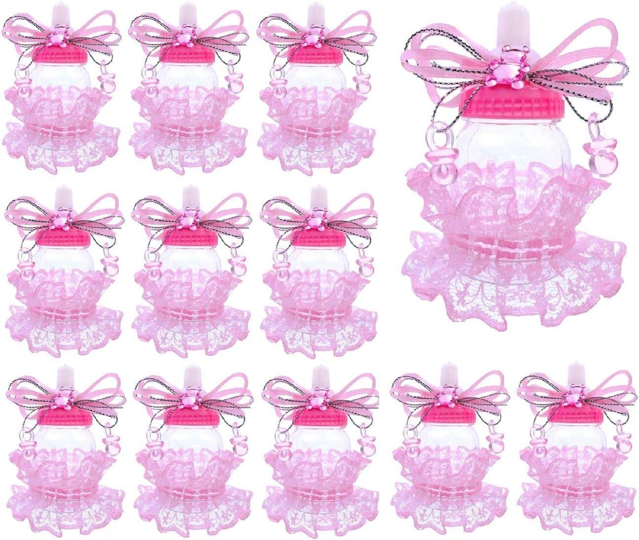 JZK 24 x Rosa biberones favores Baby Shower Cajas Regalo para Baby Shower Fiesta cumpleaños niña Bautizo Bautismo recién Nacido