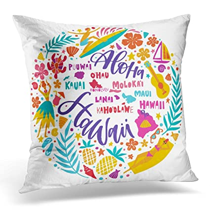 Amazon Throw Pillow Cover Hawaii Islands Map And Tourist
