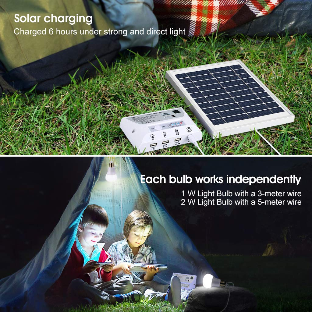 SUAOKI Solar Panel System Lights Kit, Upgraded Portable Home Solar Lights Outdoor Solar Powered Charger with Switch Controller, 2 LED Bulbs, 3 USB Ports for Indoor Outdoor Camping Garage Emergency by SUAOKI (Image #3)