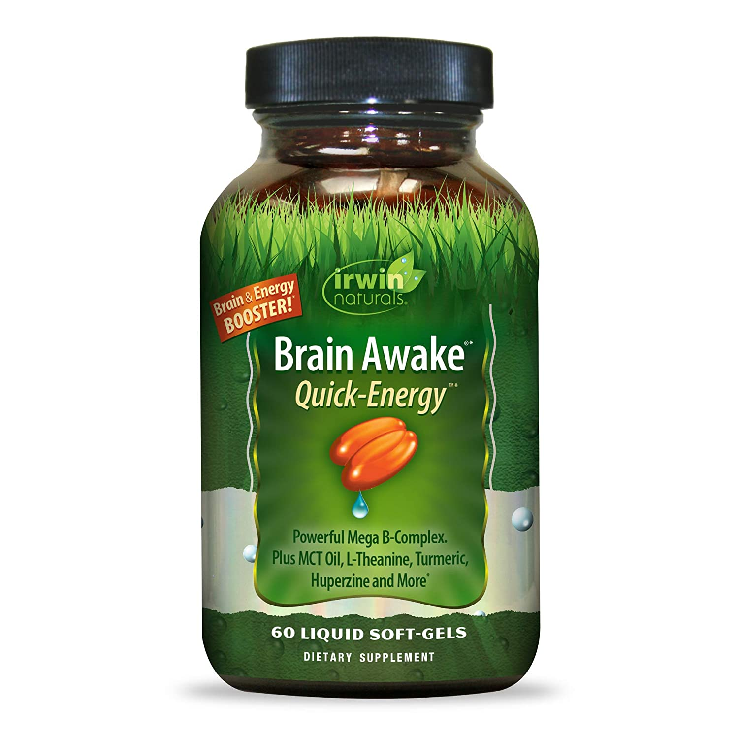 Irwin Naturals Brain Awake Quick Energy Booster – Enhance Mental Performance, Focus, Clarity – Powerful Mega B Complex, MCT Oil, Ginkgo, L-Theanine Huperzine – 60 Liquid Softgels