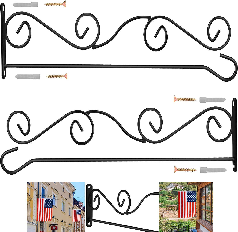 "BONWIN Wall Garden Flag Holder, 2 Pack Metal Wrought Iron Garden Flags Scroll Hanger - Yard Mailbox Post Flag Bracket - Garden Flag Pole Stand for Wall Wood Mailbox Post - 4"" H x 16"" W"
