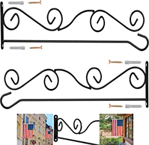 "BONWIN Wall Garden Flag Holder, 2 Pack Metal Wrought Iron Garden Flags Scroll Hanger - Yard Mailbox Post Flag Bracket - Garden Flag Pole Stand for Wall Wood Mailbox Post - 4"" H x 16"" W"