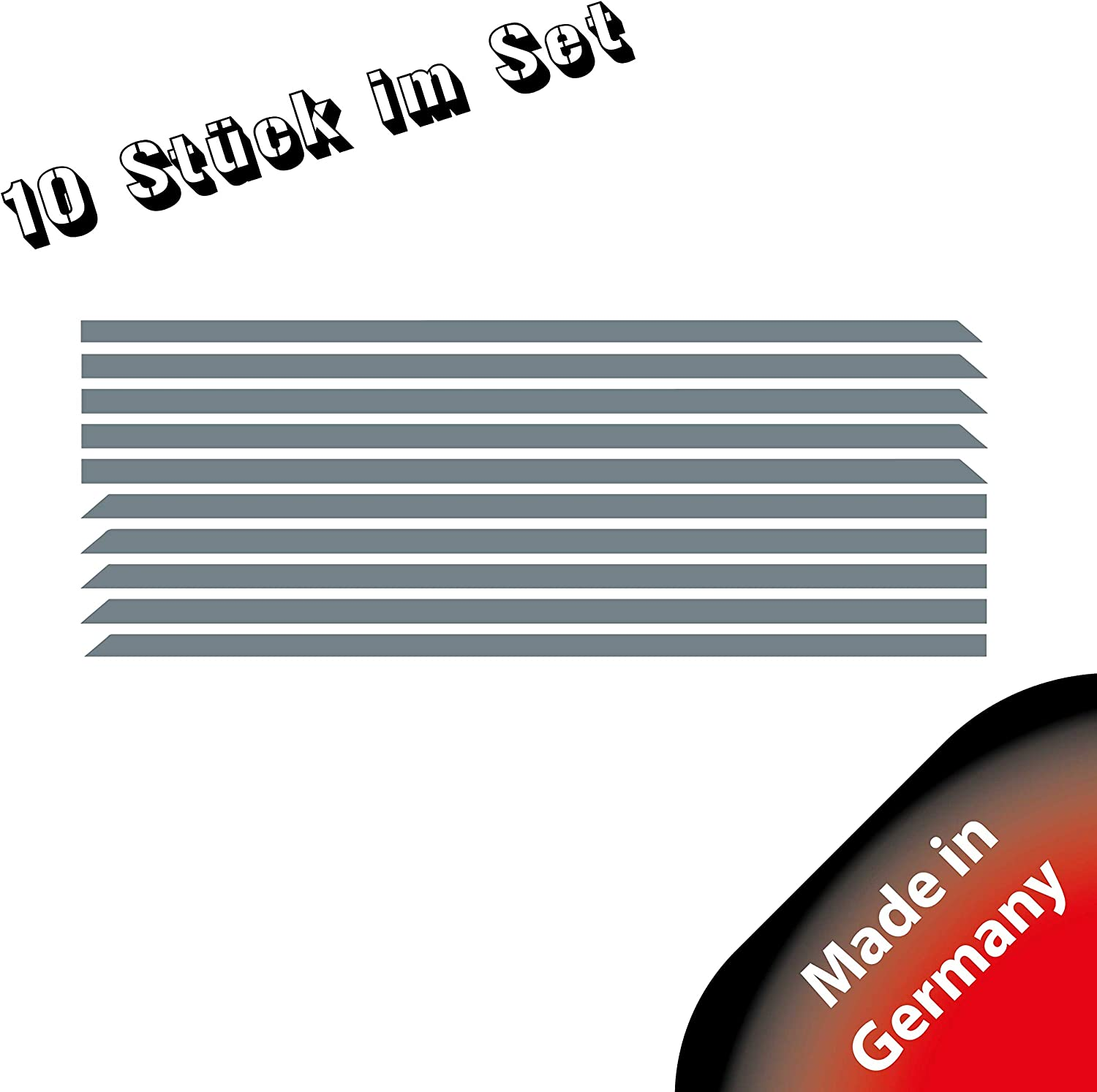 Sto/ßstangen Folie P055 Frontgrill Stripes Designline Brillantblau 10er-Set Stripes K/ühlergrill Folien Set