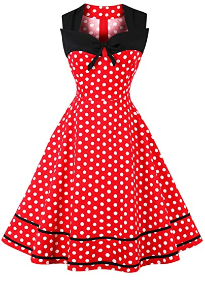 200753cda99e9 Image Unavailable. Image not available for. Color: Vintage Polka Dot Retro  Cocktail Prom Dresses 50's 60's Rockabilly Women Sleeveless Aline Party  Swing ...