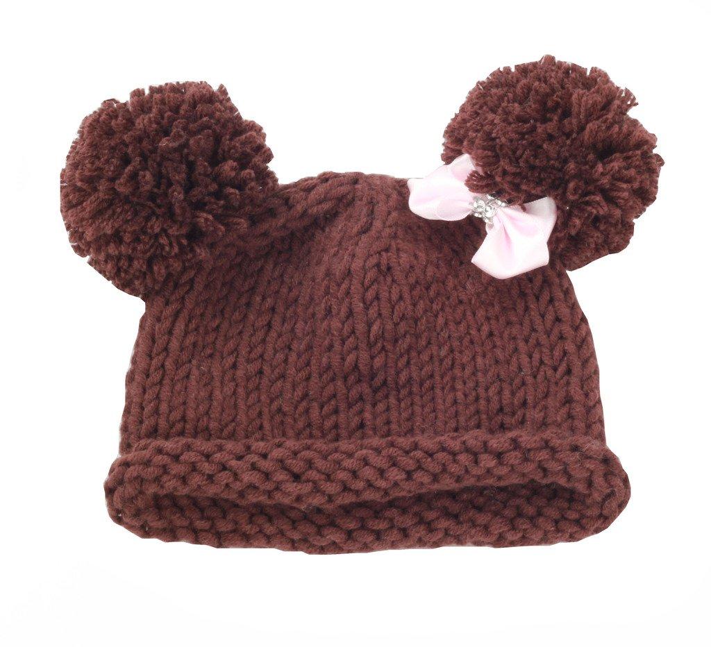 zefen Bestknit Baby Girls Pompom Hat Props Crochet Knitted Pom Pom Hat Bow Beanie