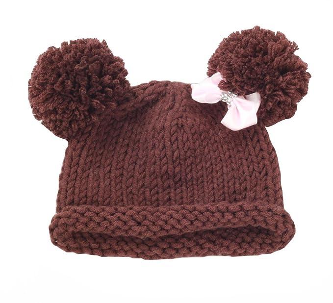 zefen Bestknit Baby Girls Pompom Hat Props Crochet Knitted Pom Pom Hat Bow  beanie Small Brown 06ad38e7686