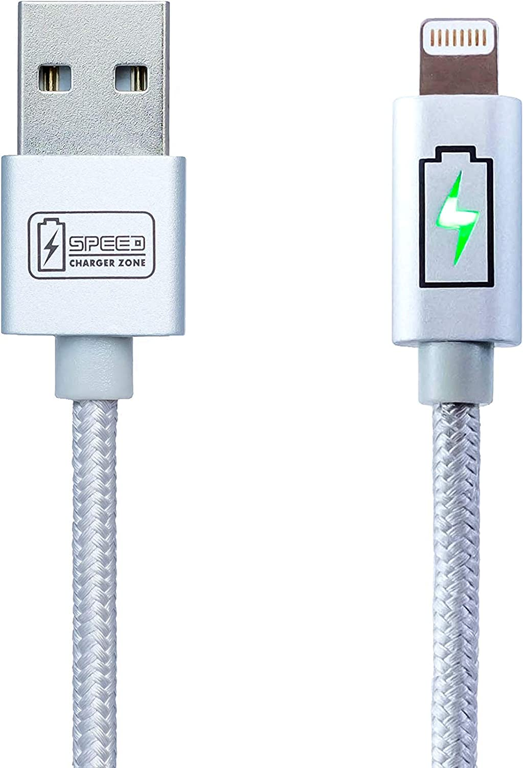 Speed Charger Zone Lightning to USB Charger Cable Silver | Smart LED Indicator, Fast Charging, Made for iPhone (MFI): 11/Pro/Pro Max, X/XS/XR/Plus, 8/Plus, 7/Plus, and More!