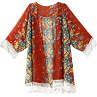 Womens Summer Floral Kimono Cardigan Lace Chiffon Loose Bikini Cover up