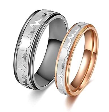 c9ec51a9ca SunnyHouse Jewelry His or Hers Matching Set Heart Beat Chart Titanium Couple  Wedding Band Ring | Amazon.com