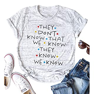 Women Friends They Don't Know That We Know Graphic Short Sleeve T Shirt Blouse Tees Tops Size M (Grey)
