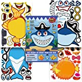 Shark Stickers,Make A Shark Stickers,Creat Your Own Big Sea Life Stickers Craft Game for Kids,Great for Birthday Party Favors
