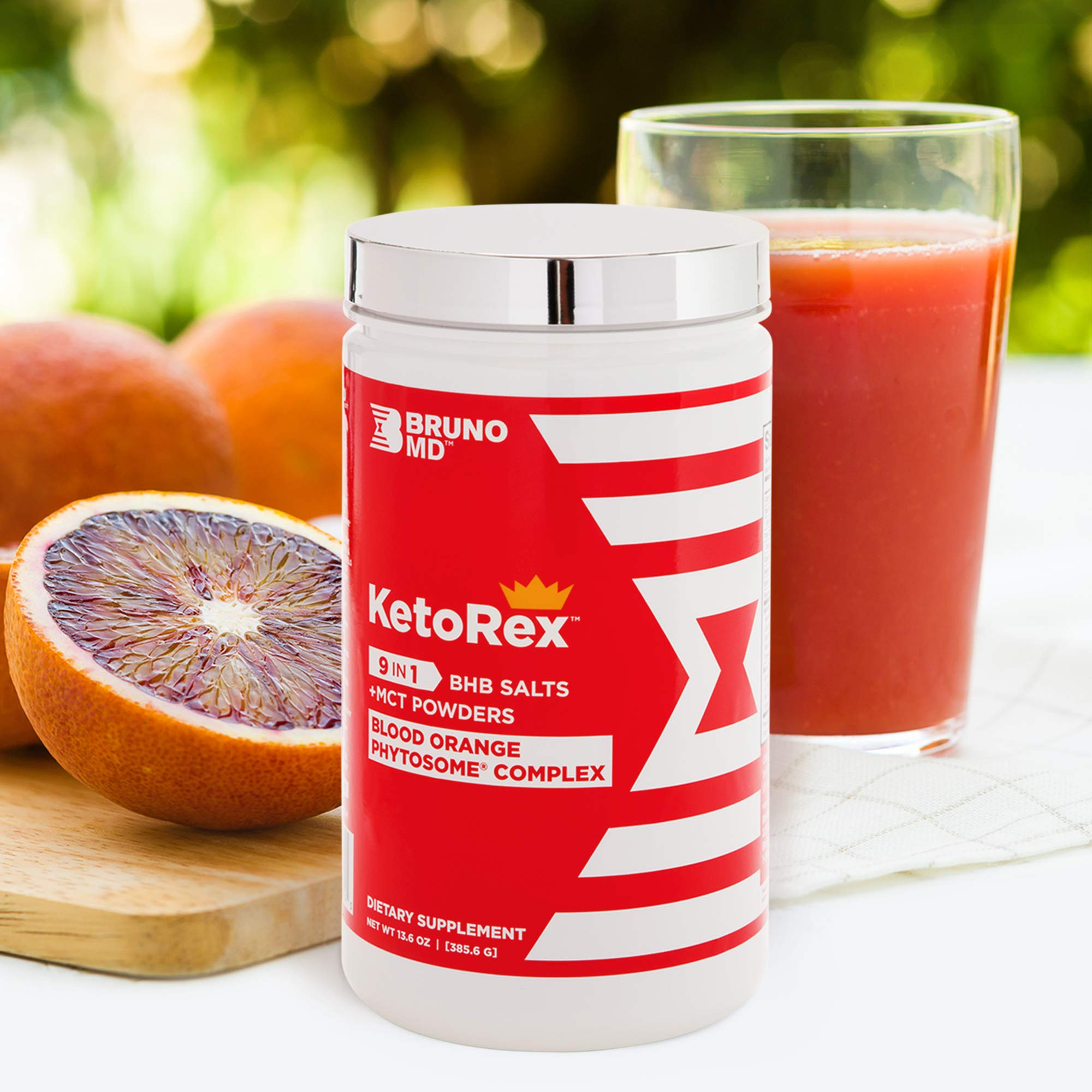 Bruno MD Ketorex Exogenous Ketone BHB Salts + MCT Powder, Clinically-Proven Phytosome Complex - Delicious, Blood Orange Blend for Paleo, Nutritional Therapy Management – Keto Salt Dietary Supplement