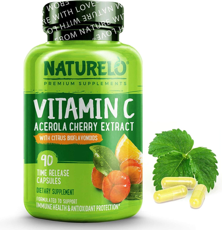 NATURELO Vitamin C with Organic Acerola Cherry Extract and Citrus Bioflavonoids - Vegan Supplement - Immune Support - 500 mg VIT C per Cap - Time Release - Non-GMO - 90 Capsules