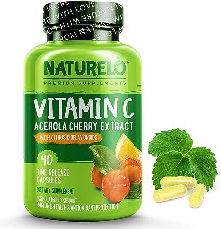 NATURELO Vitamin C with Organic Acerola Cherry and Natural Citrus Bioflavonoids
