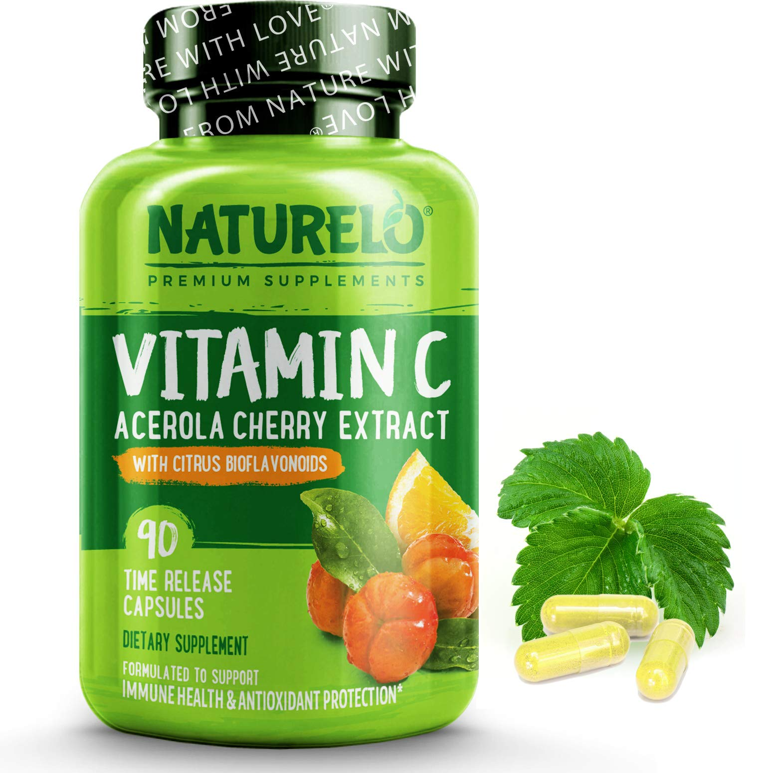 NATURELO Vitamin C with Organic Acerola Cherry Extract and Citrus Bioflavonoids - Vegan Supplement - Immune Support - 500 mg VIT C per Cap - Time Release - Non-GMO - 90 Capsules