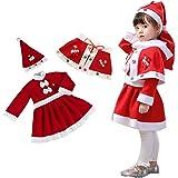 Horara サンタ コスプレ ベビー キッズ クリスマス コスプレ衣装 子供 マント付き、帽子、ワンピースセット(女の子 3点セット、90cm)