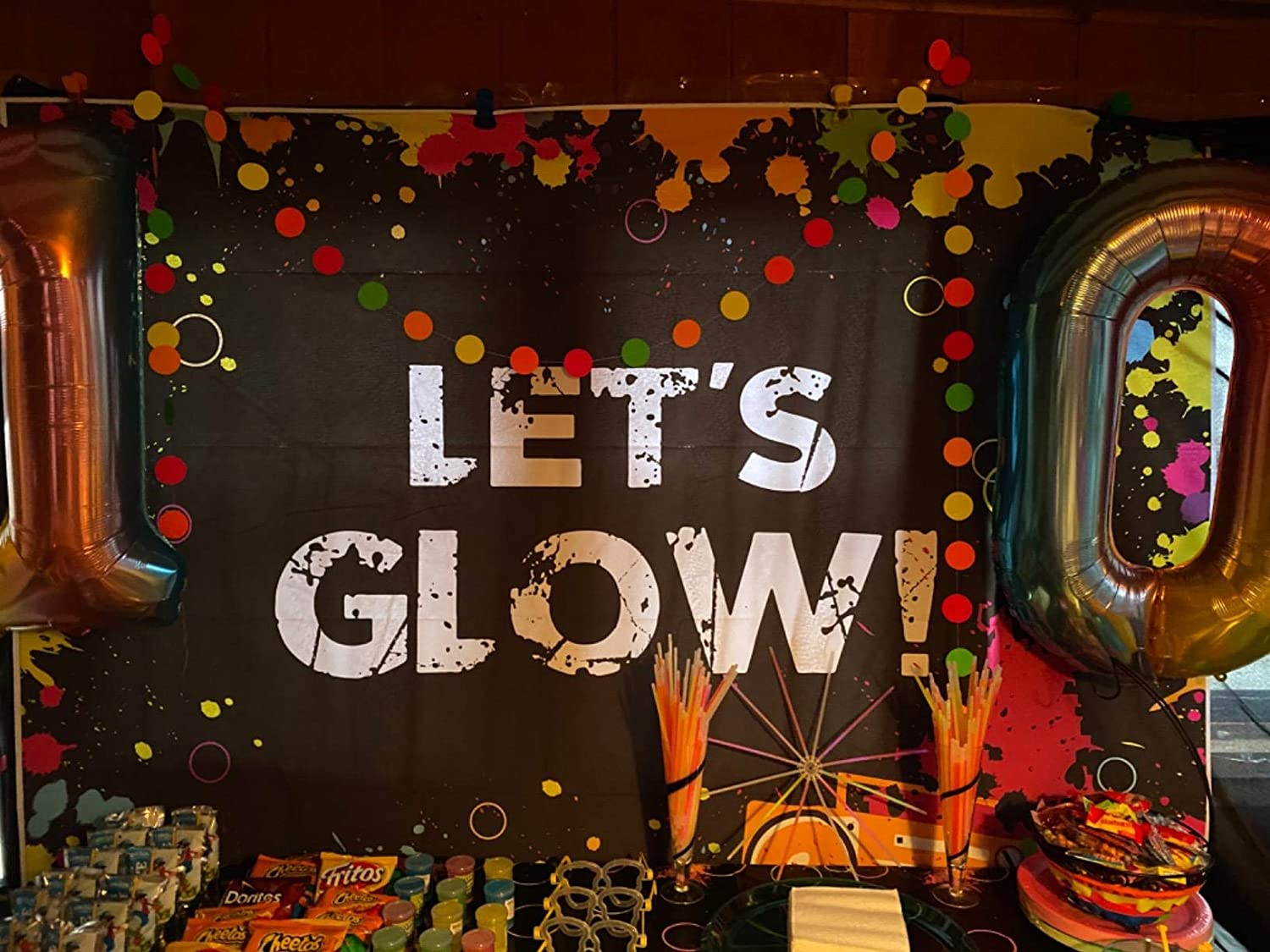 Daniu Glow Neon Party Backdrop Lets Glow Splatter Photography Background 7x5ft Vinyl Glowing Party Backdrops Banner Decoration Neon Party Supplies