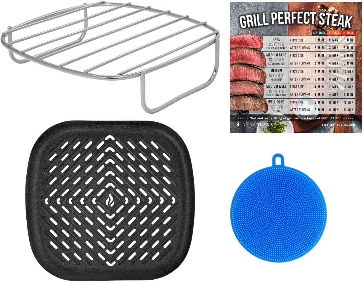 Air Fryer Rack and Grill Pan Accessories Compatible with NuWave, Philips, Chefman, Dash, Cosori, Costzon, Secura, Gourmia, Maxi-Matic Elite Platinum, Enklov +more – Basket Accessory + Scrubber