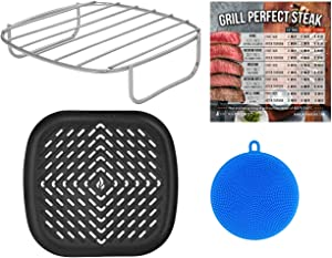 Air Fryer Rack and Grill Pan Accessories Compatible with Emerald, Maxi-Matic, Secura, Chefman, Philips, Willsence +More – No Oil Basket Accessory + Silicone Scrubber