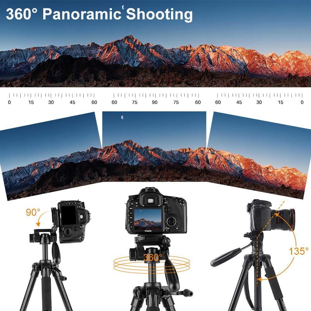 Canon Nikon K/&F Concept Tr/épied Appareil Photo Portable CT048 Trepied L/éger en Aluminium avec Clip de T/él/éphone 4 Sections Charge: 4kg pour DSLR Cam/éra