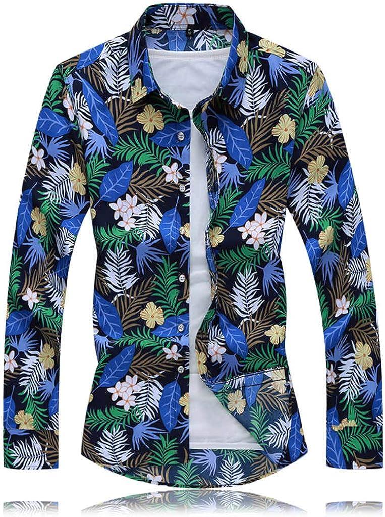 ZODOF Camisas de Hombre Otoño Moda Casual Manga Larga Camisa Estampada Hombre Hawaianas Slim fit sujeta Playa Tops Suelto Blusa: Amazon.es: Ropa y accesorios