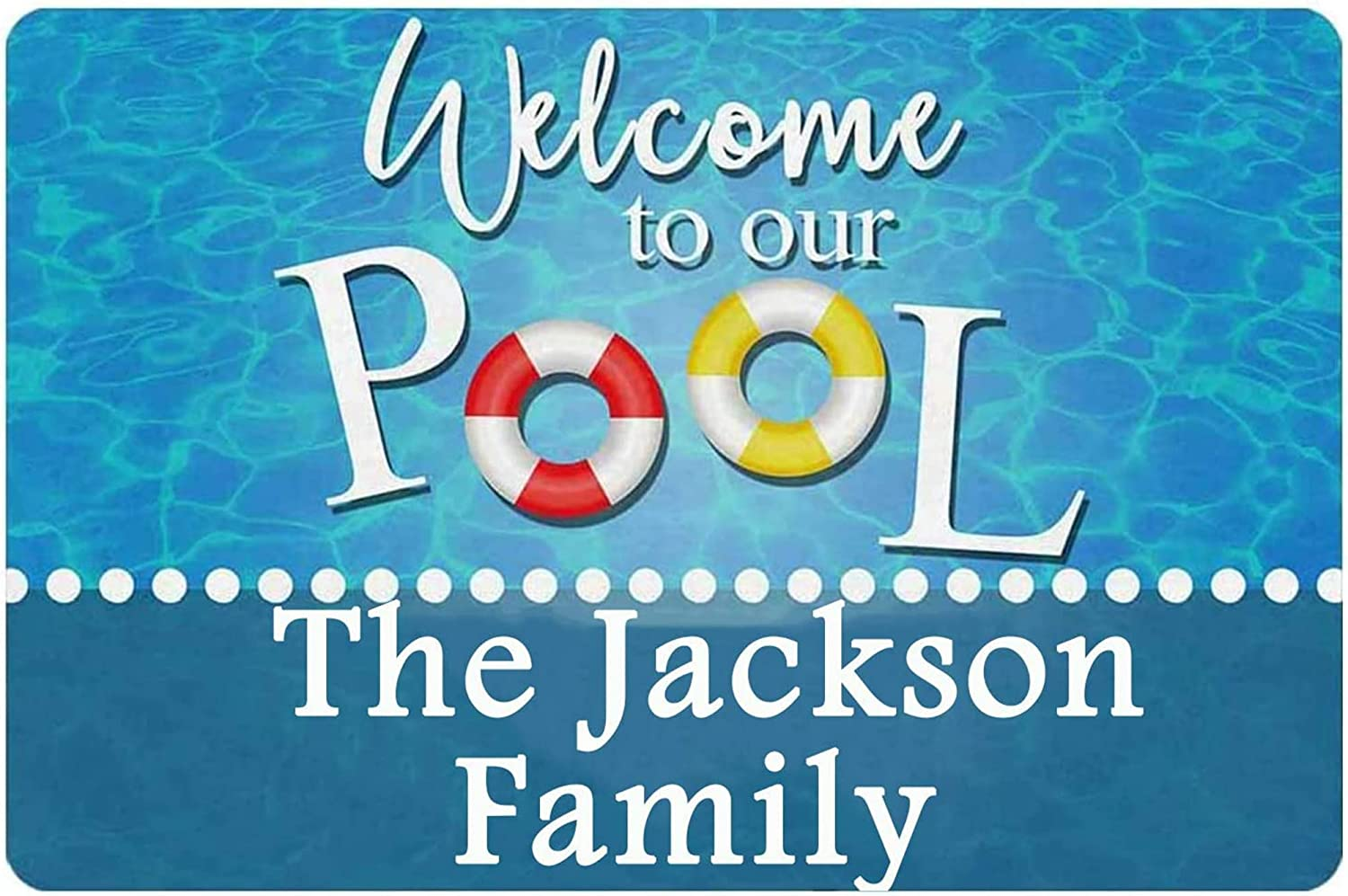 Auwozc Welcome to Our Pool Signs Personalized Custom Family Name Home Wall Decor Wood Metal Sign Plaque Gift