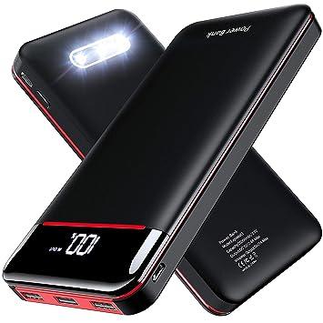 Gnceei Power Bank 25000mAh Cargador Móvil Portátil, Batería Externa de Alta Capacidad con Pantalla y Luces LED, Entrada Doble y 3 Puertos de Salida ...