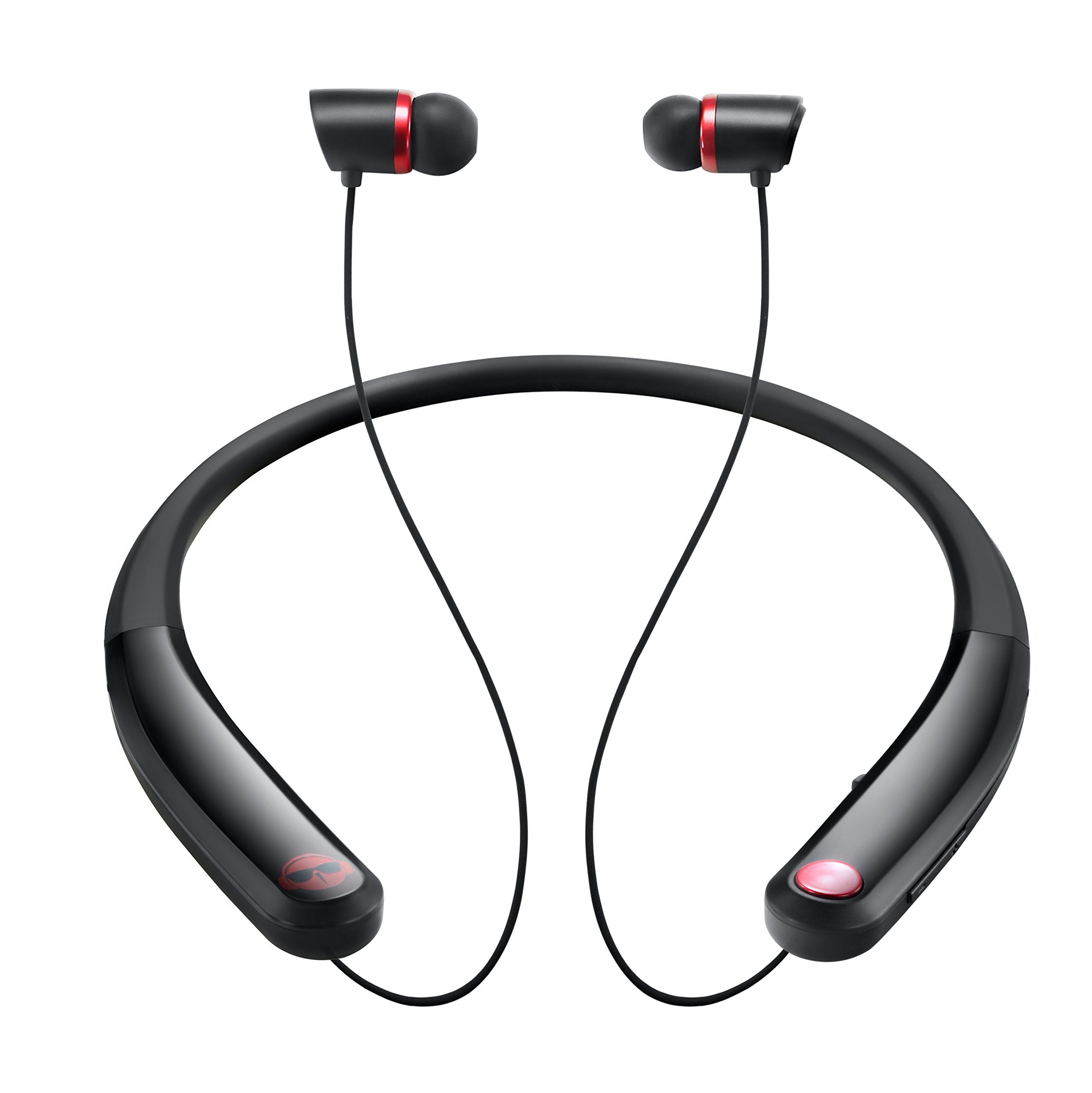 RockFox 2018 popular Headphones, Car Speakerphones,Sports Running Neckband Headphones with HD&Mic Noise Canceling Wireless Earpiece,Comfort for Cellphone,Computer,iPad.(Black)