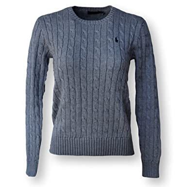GreyLarge Crew Women's Ralph Knit Cable Sweaterfawn Neck Lauren 2I9WEHD