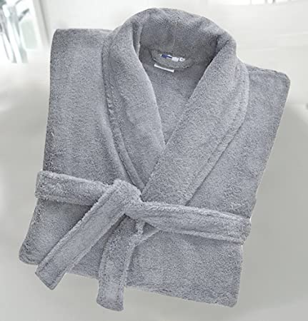 Uni Sex 100% Cotton 500 Gsm Terry Towelling Shawl Collar Bath Robe Dressing  Gown Silver X-Large  Amazon.co.uk  Kitchen   Home 98f06e34c