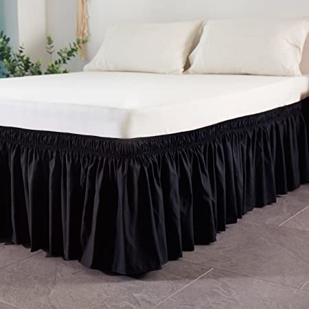 Cozylife Three Fabric Sides Wrap Around Elastic Solid Bed Skirt, Easy On/Easy Off Dust Ruffled Bed Skirts 14 inch Tailored Drop (Black, Twin)