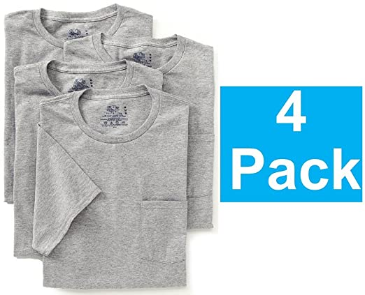 Fruit of the Loom Mens 4Pack Grey Pocket Crewneck T-Shirts Undershirts XL