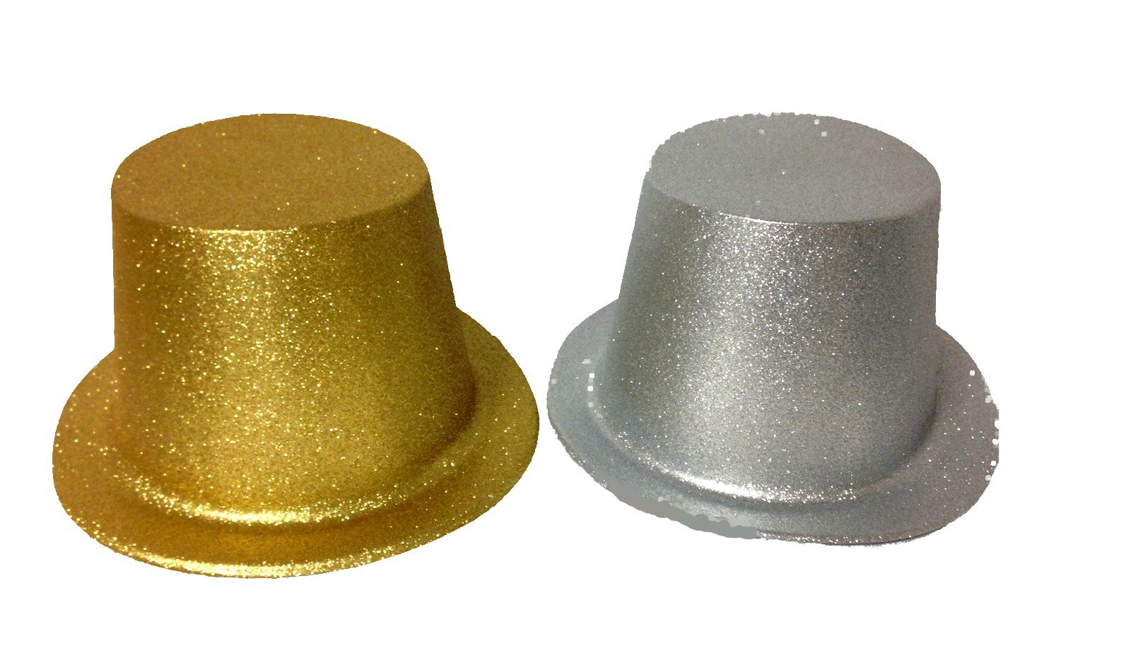 Gold and Silver Glitter Top Hats for Adults Lot of 12 Hats