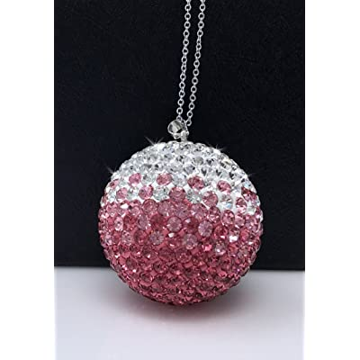 Bling Car Decor Crystal Ball Car Rear View Mirror Charm, Rhinestone Hanging Ornament for Car & Home Decor, Crystal Sun Catcher Ornament, Car Charm Decoration, Bling Car Accessories (Pink): Automotive