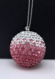 Bling Decor Pink Crystal Ball Car Rear View Mirror Charm, Pink Ombre Rhinestone Car & Home Decor Hanging Ornament, Bling Car Accessories, Crystal Sun Catcher Ornament Car Glam Decoration Charm (Pink)