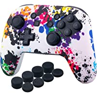 YoRHa Studded Silicone Transfer Print Cover Skin Case ONLY for Nitendo Official Switch Pro Controller x 1(Graffiti) with…
