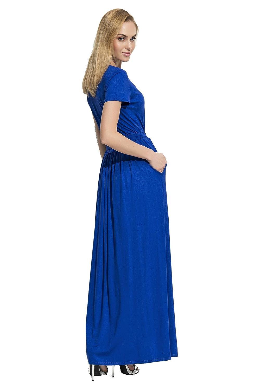 S M L XL 36 38 40 42 Kleid Kurzarm Top mit Tüll-Ausschnitt Gr