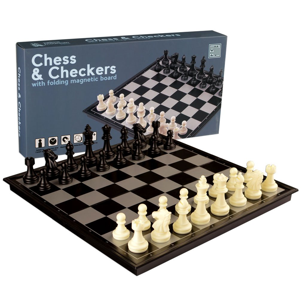 Yellow Mountain Imports 2 in 1 Travel Magnetic Chess and Checkers - 12.5""