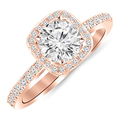 1 Carat Classic Halo Style Cushion Shape Diamond Engagement Ring 14k Rose Gold With A 0 75 Carat Hi I1 Round Brilliant Cut Shape Center
