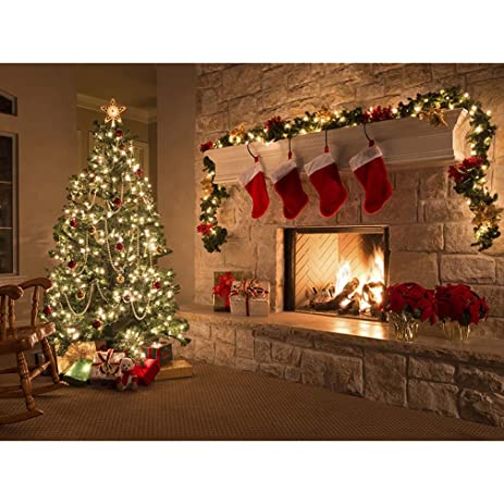 Amazon Com Haotfire Christmas Tree And Fireplace Wall Art Painting