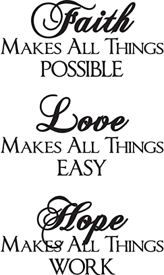 Faith Love Hope Vinyl Wall Decals Quotes Sayings Words Art Decor Lettering Inspirational