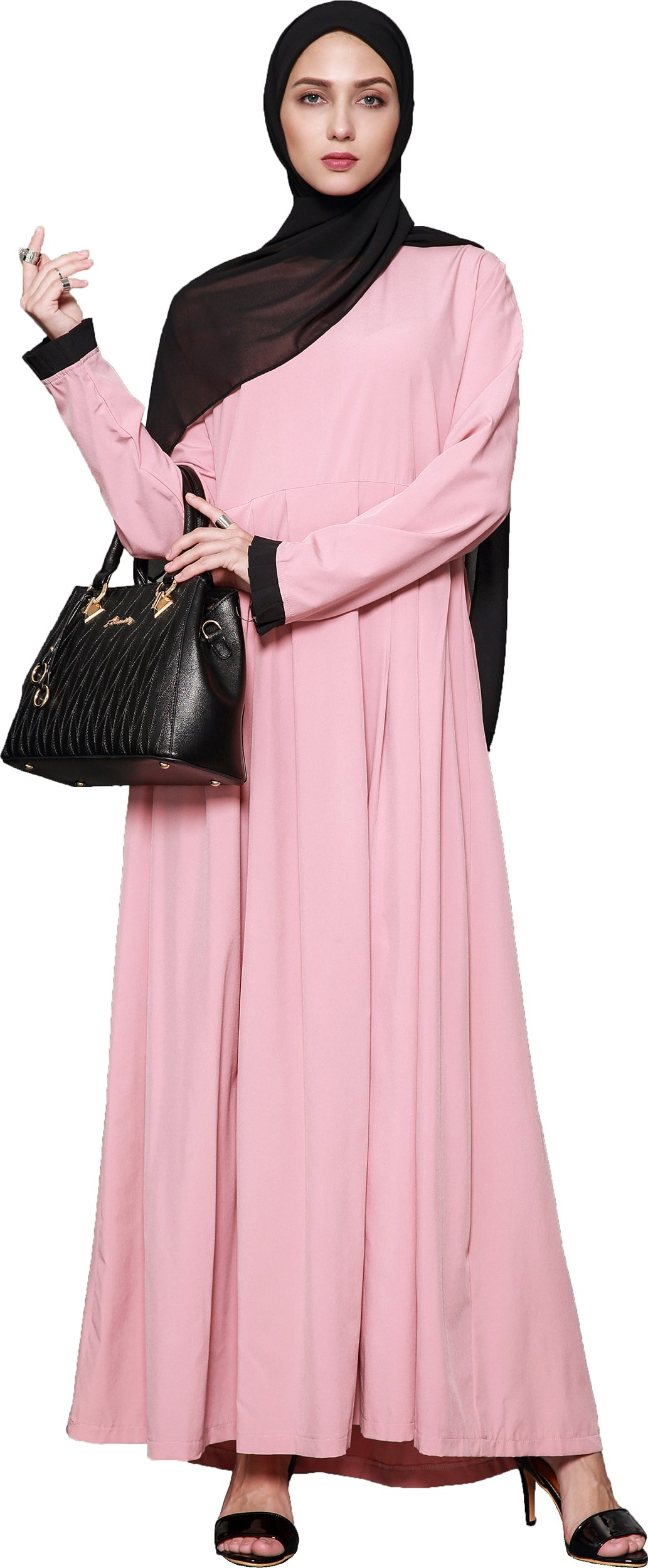 Ababalaya Women's Elegant Modest Muslim Full Length O-Neck Solid Pleated Runway Abaya S-4XL,Pink,Tag Size L = US Size 10-12